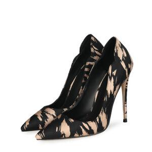 Women Fashion Print Pumps Stiletto High Heel Slip On Pointed Toe Party oversize
