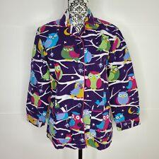 Nick & Nora Purple Night Owl Shirt Nightgown PJ Small Flannel 2 Pockets Owls