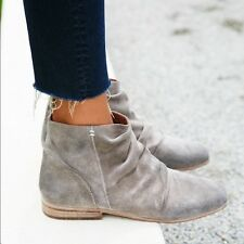 Free People Grey Oiled Suede Speir Ankle Boot Slouchy Zipper Bootie Shoe Size 6