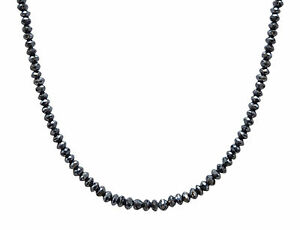 2mm Certified Carbonado Black Diamond Bead Necklace 20 Inches With Certificate