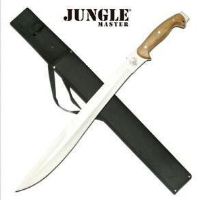 JM-010 JUNGLE MASTER SS MACHETE W/ BROWN WOOD HANDLE + SHEATH W/ SHOULDER STRAP