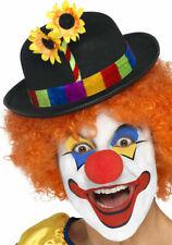 Clown Hut schwarz Melone mit buntem Hutrand Sonnenblume Karneval Fashing