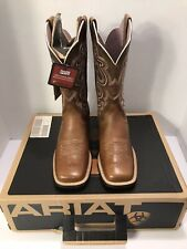"Women's Ariat Boots Quickdraw 10006304 Brown 11"" B Medium Wide Square Toe Sz 6"