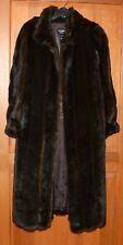 Olympia Limited Inc. Vintage Woman Faux Mink Fur Long Coat Brown/Black M