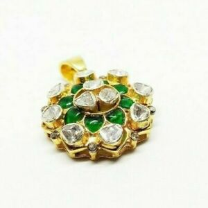 Natural Emerald Gemstone Rose Cut Polki Pave Diamond 925 Sterling silver Pendant