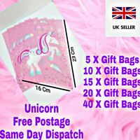 Magical Unicorn Pink Party Goodie Bags Plastic Gift Bag Loot budget Treat favour