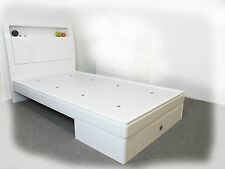 Gemma  KING SINGLE Bed with Storage & LED Lights - Hi Gloss White - BRAND NEW