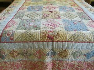 Vintage Handmade Patchwork Cottage Charm Quilt Coverlet w Floral & Toile 66x90