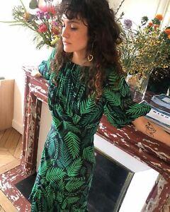 New Rixo Cheryl Teal Cuba Palm With Frill Hem Dress Sz S