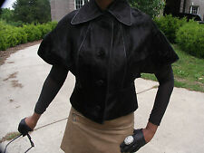 Nwot New Stylish High fashion Black calf Pony Fur Coat Bolero stroller cape  S-4