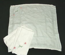 Lot de 6 grandes serviettes de table brodées en coton damassé, linge ancien
