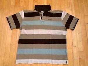 Heine Polo Shirt Gr. 56/58 grau weiß hellblau braun gestreift
