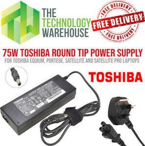 Genuine Toshiba 75w Charger PSU - Round Tip 6.3mm*3mm - 15V 5A + Power Cable