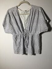 Fat Face Womens Blue And White Striped Tie Up Blouse Top Size S Short Sleeve