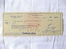Rare, Errol Flynn Signed His Personal Check, Hollywood's Top Box Office Draw