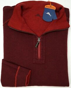 NWT $120 Tommy Bahama 1/4 Zip Reversible Red Sweater Mens LT Flip Side Classic
