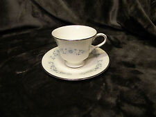 Wedgwood Josephine Blue Footed Cup & Saucer Blue Flowers,Silver Trim, Excellent