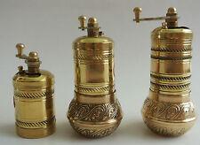 Manuel turc laiton moulin poivre grinder LOT DE 3 fat & droite modèle W piscine