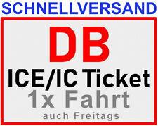 1x DB Deutsche Bahn Freifahrt bundesweit mit ICE IC EC Ticket Fahrkarte Zug.