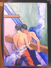 Antique Art Deco Gouache Painting Men Industrial signed listed artist on board