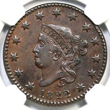 1822 N-5 R-3 NGC AU Details Matron or Coronet Head Large Cent Coin 1c