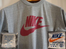Vintage NIKE 70s 80s Orange Tag Grey S 50/50 Cotton Poly T-Shirt Made in USA