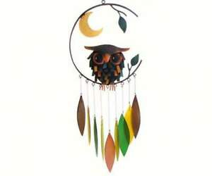 Wind Chime SPIKEY OWL WITH MOON Handcrafted Glass with Metal (GEBLUEG426)