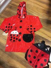 Girls Red Rain Coat Aged 4-5 (EUR 104-110) & Bag