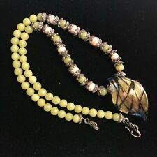 Murano Glass Necklace with Silver Beads and Pearls