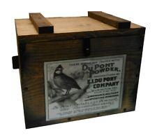 Rustic Wooden Ammo Box - Cartridge Accessories Storage Crate - Quail Powder Ad