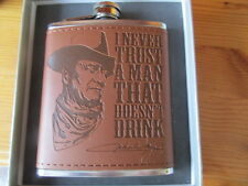 """JOHN WAYNE EMBOSSED 7oz HIP FLASK """"I NEVER TRUST A MAN THAT DOESN'T DRINK"""" BOXED"""
