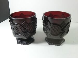 """Avon Ruby Red Glass - 3.75"""" footed tumblers - Cape Cod"""
