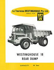 Le Tourneau Westinghouse Specification Sheets Set of 16