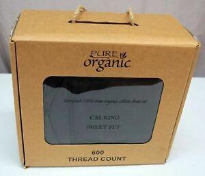 Pure Organic Cotton California King Flat Sheet Set 4-pc Black 600 Thread Ct NIB