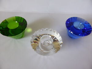 SWAROVSKI TRIO 3 LARGE CANDLE HOLDERS SET NEW WAS $333 RETIRED 2003