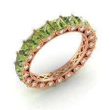 Certified 3.49 Ct Princess Peridot & Diamond Eternity Band Ring 18k Rose Gold