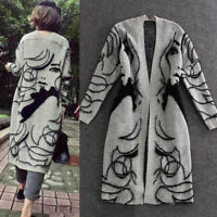 KQ_ Women Autumn Winter Loose Long Sleeve Embroidery Head Knit Cardigan Sweater
