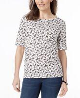 KAREN SCOTT New Women's Short-Sleeve Scoop-Neck Top Size XL Cotton (H)