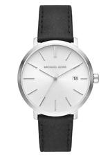New Michael Kors Blake Silver Sunray Dial Men's Black Leather Watch MK8674