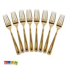 8 Forchette Plastica ORO Eleganti e Robuste - Tavola Posate Gold Dorate