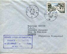 PREMIERE LIAISON AIR FRANCE / FRANCE POLYNESIE LOS ANGELES 1960