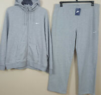 NIKE FLEECE SWEATSUIT HOODIE + PANTS SUIT OUTFIT GREY WHITE RARE NEW (SIZE 2XL)