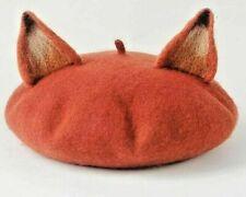 Cute Fox Ear Beret Girl Cap Vintage Genuine Warm Wool Hat Artist Head Cover