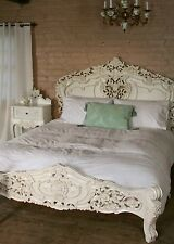 Rococo 5' King Size French Style Louis Solid Mahogany Antique White Bed  New