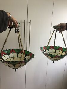 Stunning Matching Pair Glass Tiffany Ceiling Up lights Lamp Shades X 2 Vintage