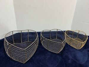 Heart Shaped Wire Nesting Baskets Vintage Style Farmhouse Set of 3 Storage New