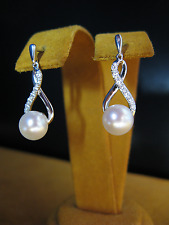 HONORA PEARL SWAROWSKI CRYSTALS EARRINGS WHITE SILVER SS GIFT Bridal Christmas
