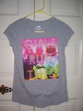 Justice girl's gray short sleeve T-shirt multi-color Girl's Run This graphic 14