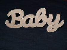 Baby Wooden Script Words Decorative Letters Wall Door Plaque Sign Unpainted MDF