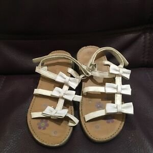Laura Ashley Girls White bow Detail Sandals infant UK 12